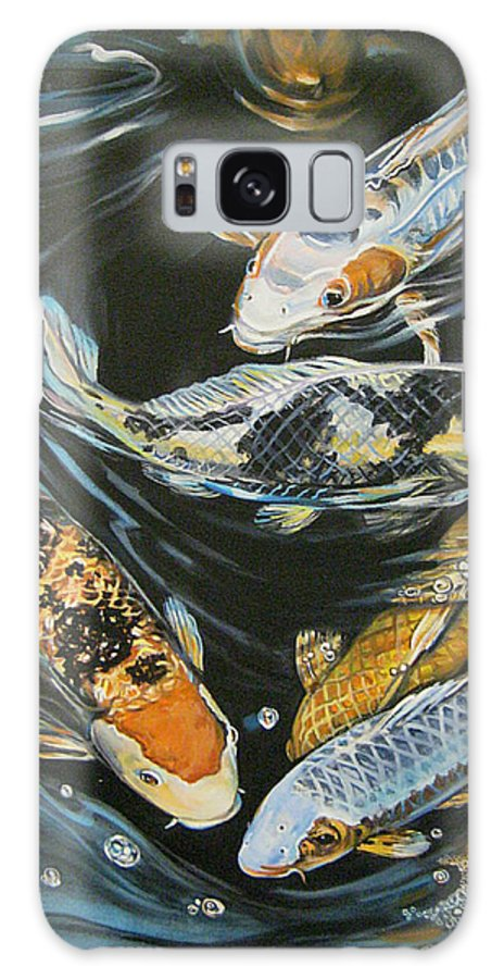 Fish Galaxy S8 Case featuring the painting Koi Pond by Diann Baggett