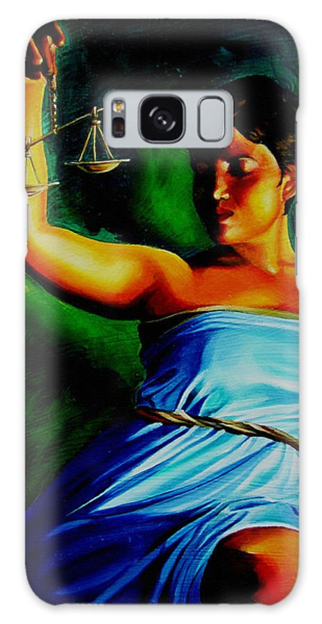 Law Art Galaxy S8 Case featuring the painting Lady Justice by Laura Pierre-Louis