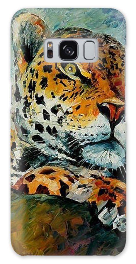 Animal Galaxy Case featuring the painting Leopard by Leonid Afremov