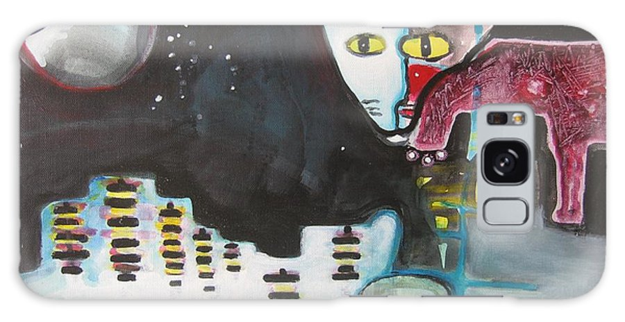 Cat Paintings Galaxy Case featuring the painting Let Me Out3 by Seon-Jeong Kim