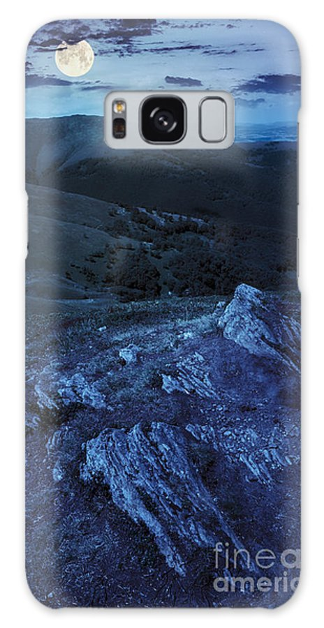 Landscape Galaxy S8 Case featuring the photograph Light On Stone Mountain Slope With Forest At Night by Michael Pelin