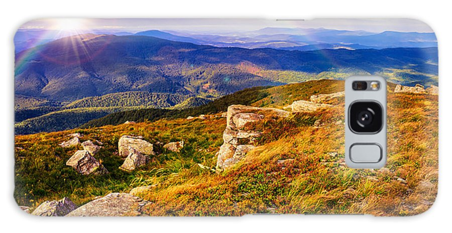 Landscape Galaxy S8 Case featuring the photograph Light On Stone Mountain Slope With Forest by Michael Pelin
