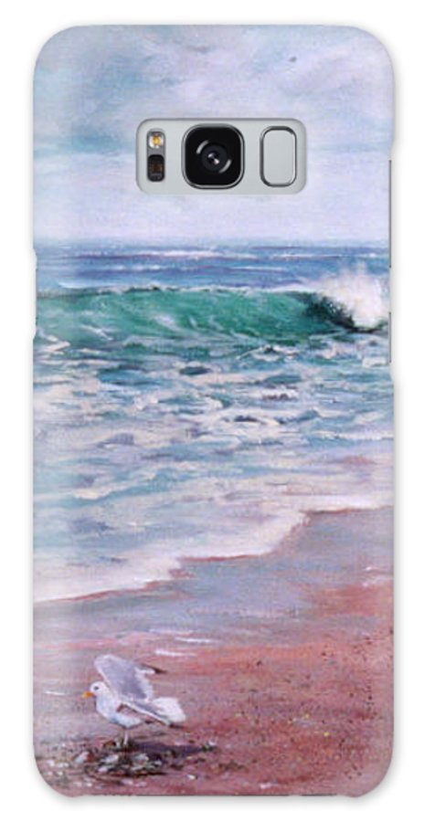 Acrylic Painting Galaxy Case featuring the painting Lonely Gull by Laura Lee Zanghetti