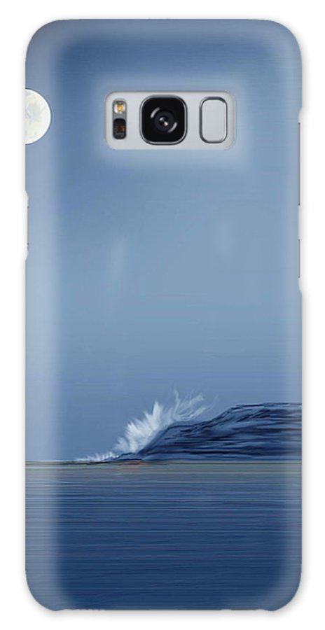 Seascape Galaxy S8 Case featuring the painting Looking At The Moon by Anne Norskog