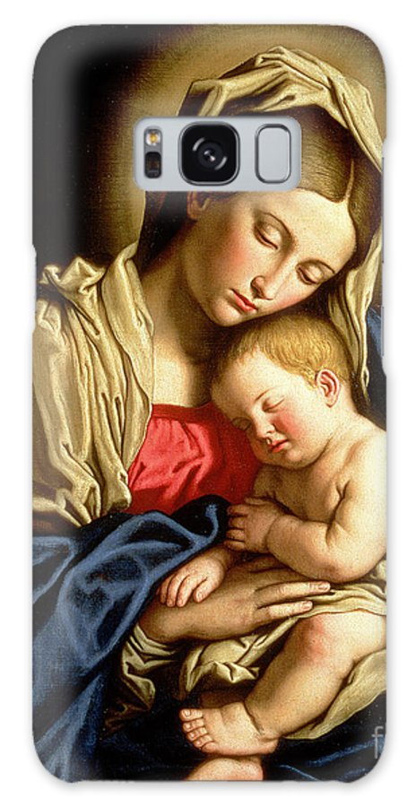 Mary Galaxy Case featuring the painting Madonna And Child 1 by Il Sassoferrato