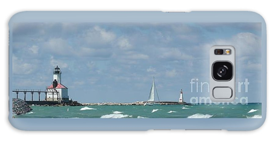 Scenery Galaxy Case featuring the photograph Michigan City Beach Lighthouse by Barb Montanye Meseroll