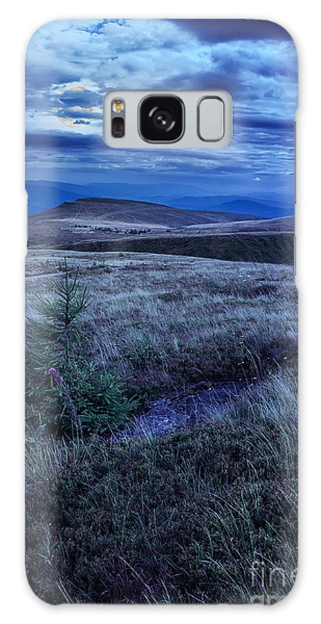 Landscape Galaxy S8 Case featuring the photograph Moonlight On Stone Mountain Slope With Forest by Michael Pelin