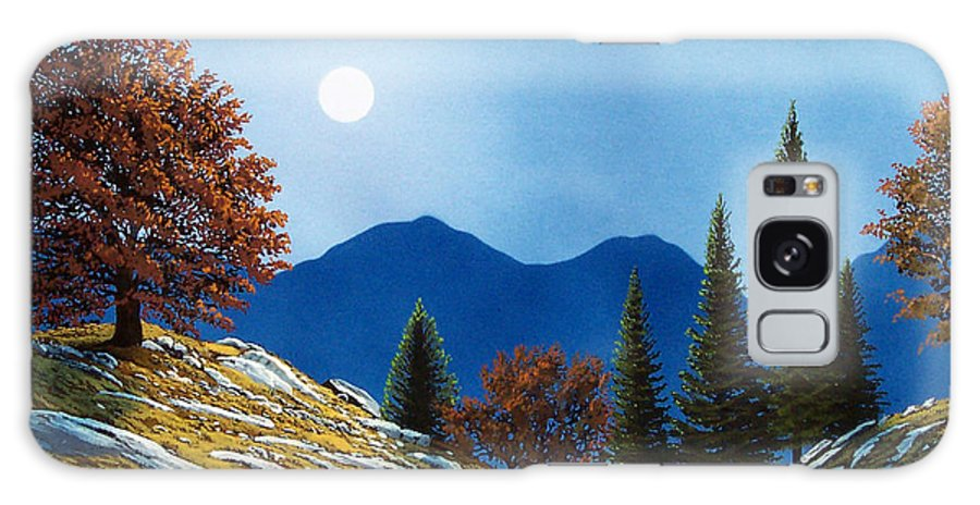 Landscape Galaxy S8 Case featuring the painting Mountain Moonrise by Frank Wilson