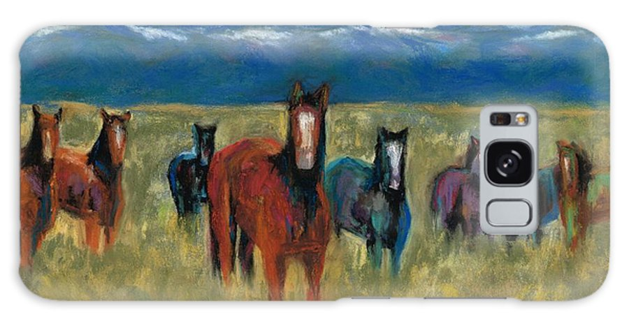 Mustangs Galaxy S8 Case featuring the painting Mustangs In Southern Colorado by Frances Marino