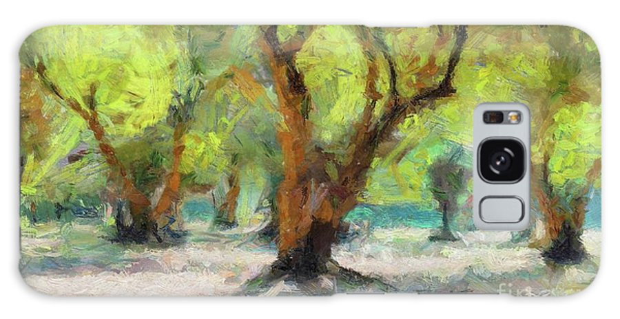 Nature Galaxy S8 Case featuring the painting Olive Grove by Dragica Micki Fortuna