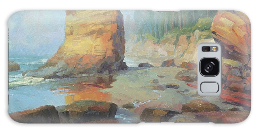 Coast Galaxy S8 Case featuring the painting Otter Rock Beach by Steve Henderson