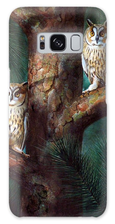 Wildlife Galaxy S8 Case featuring the painting Owls In Moonlight by Frank Wilson