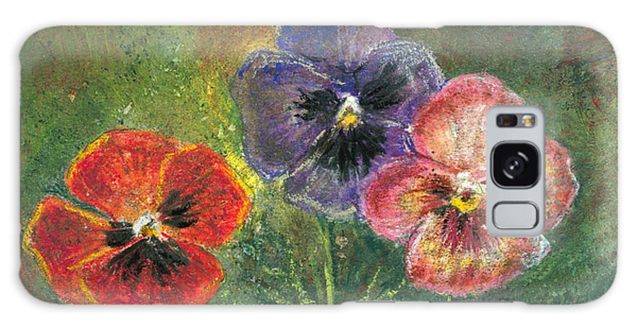 Pansy Galaxy S8 Case featuring the mixed media Pansies by Arline Wagner