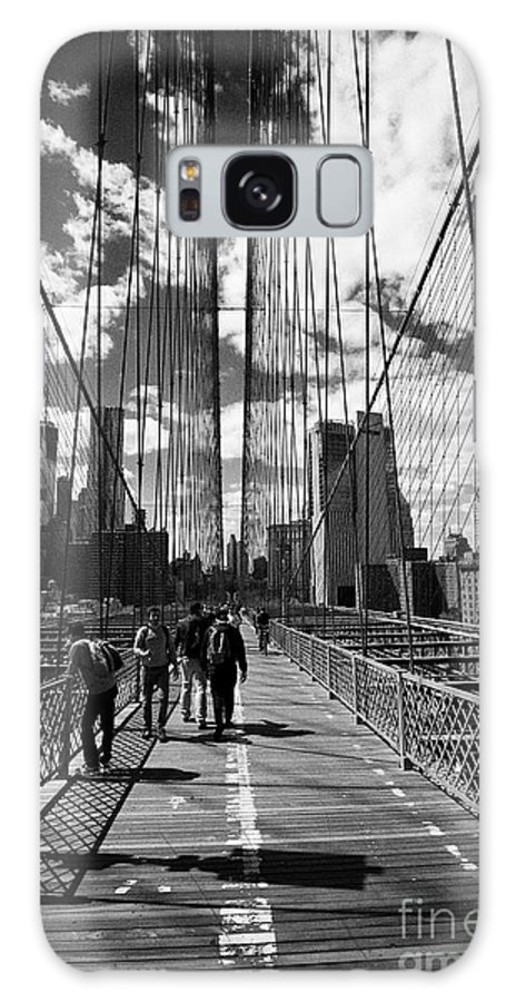 Brooklyn Galaxy S8 Case featuring the photograph people walking over the brooklyn bridge between cables towards lower manhattan New York City USA by Joe Fox