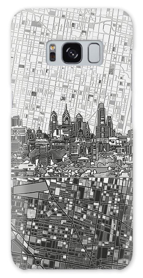 Philadelphia Galaxy S8 Case featuring the painting Philadelphia Skyline Map 4 by Bekim Art