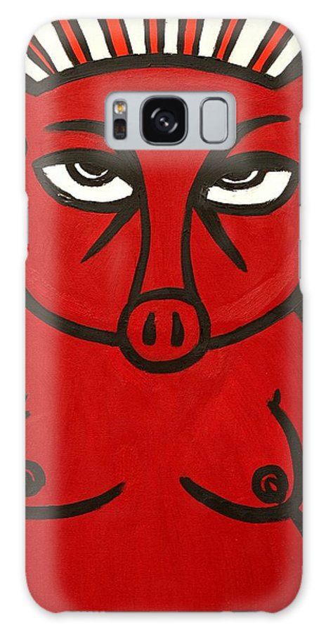 Clay Galaxy S8 Case featuring the painting pig by Thomas Valentine