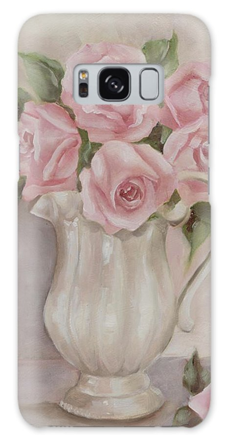 Shabby Chic Roses Galaxy S8 Case featuring the painting Pitcher Of Roses by Chris Hobel