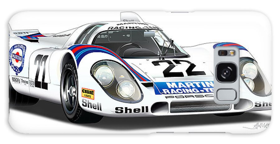 Porsche 917 Martini Illustration Galaxy S8 Case featuring the digital art Porsche 917 Illustration by Alain Jamar