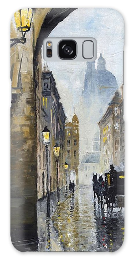 Prague Galaxy Case featuring the painting Prague Old Street 01 by Yuriy Shevchuk