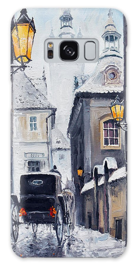 Oil Galaxy S8 Case featuring the painting Prague Old Street 02 by Yuriy Shevchuk