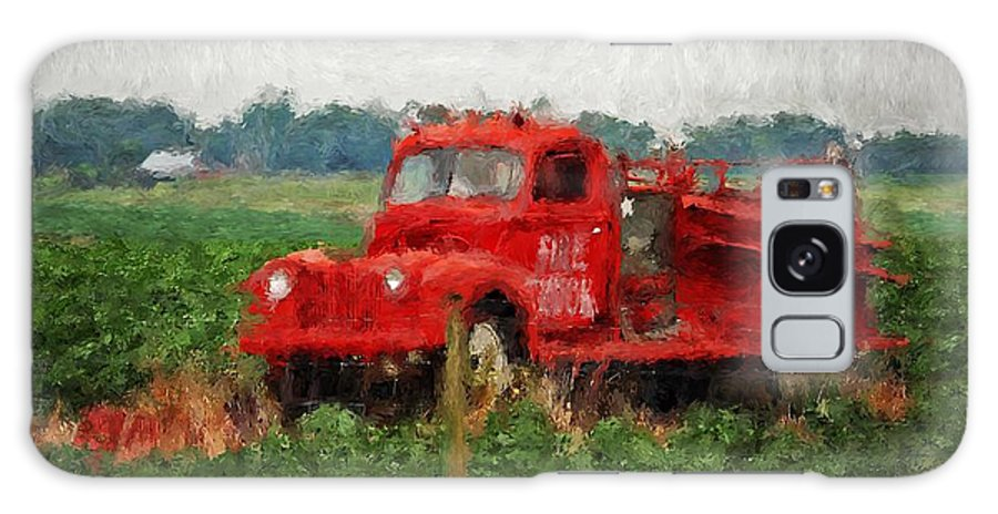 Fire Galaxy S8 Case featuring the painting Red Fire Truck by Michael Thomas