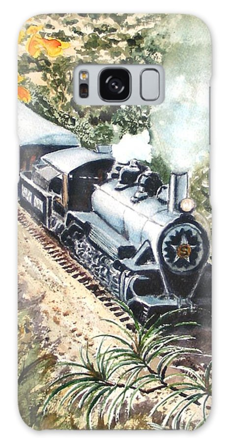 Trains Galaxy S8 Case featuring the painting Round The Bend by Karen Ilari