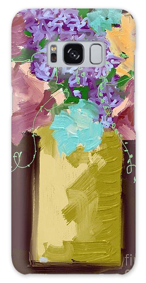 #dark Sienna #floral #tendrils #art Set Art #mixed Media Digital Galaxy S8 Case featuring the digital art Sienna Floral by Mary Jane Mulholland