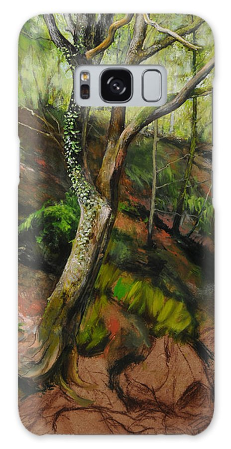 Landscape Galaxy S8 Case featuring the painting Sketch Of A Treetrunk by Harry Robertson