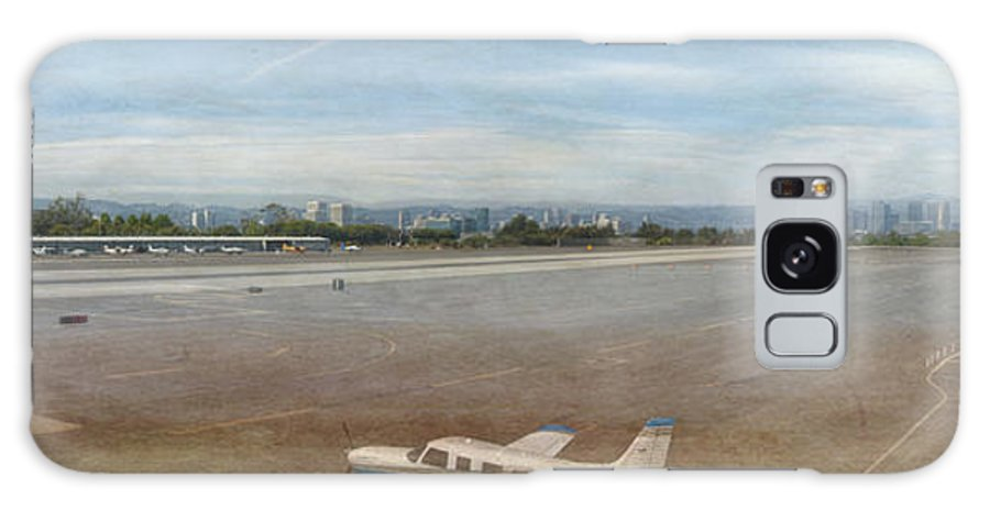 Small City Airport Planes Taking Off Fine Art Photograph Digital Watercolor Texture Overlay Galaxy S8 Case featuring the photograph Small City Airport Plane Taking Off by David Zanzinger