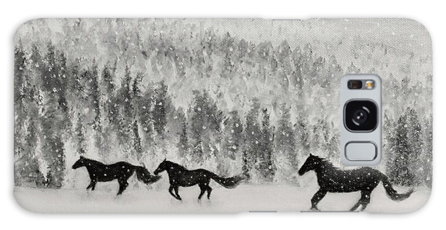 Horse Galaxy S8 Case featuring the painting Snow Angels by Raymond Davis