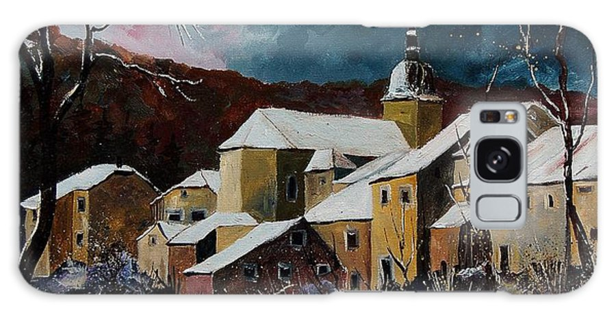 Winter Galaxy S8 Case featuring the painting Snow In Chassepierre by Pol Ledent