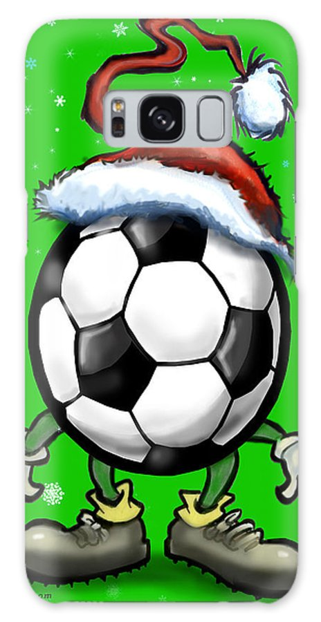 Soccer Galaxy S8 Case featuring the greeting card Soccer Christmas by Kevin Middleton
