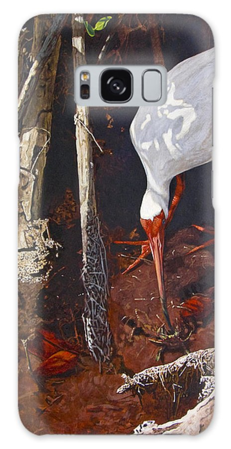 Waterfowl Galaxy S8 Case featuring the painting Sparring For Lunch by Peter Muzyka