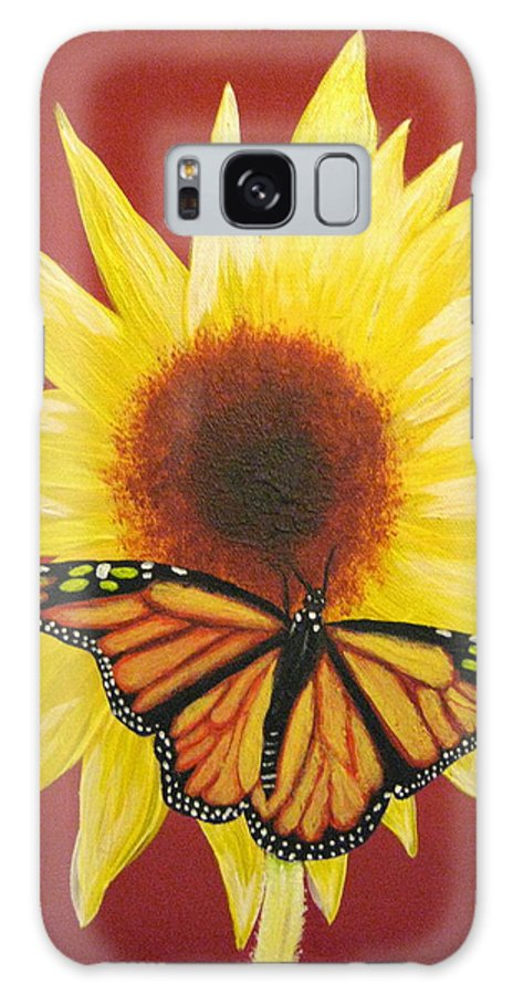 Sunflower Galaxy S8 Case featuring the painting Sunflower Monarch by Debbie Levene