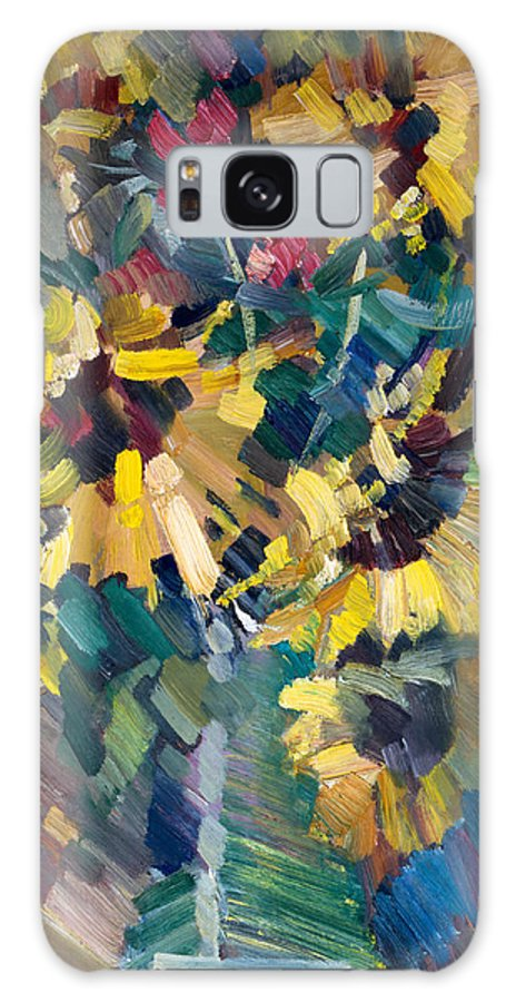 Flowers Galaxy Case featuring the painting Sunflowers by Nikolay Malafeev