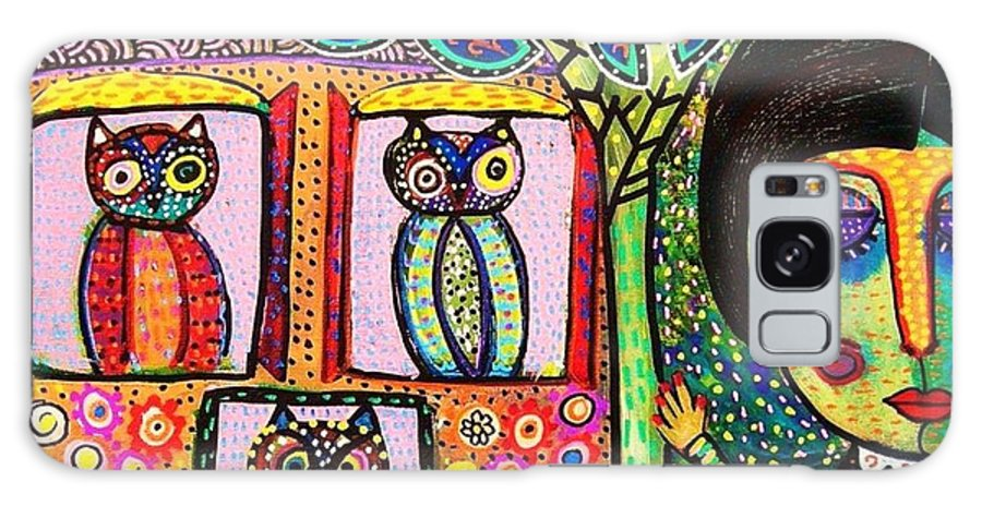 Women Galaxy S8 Case featuring the painting Talavera Owl Tree House by Sandra Silberzweig