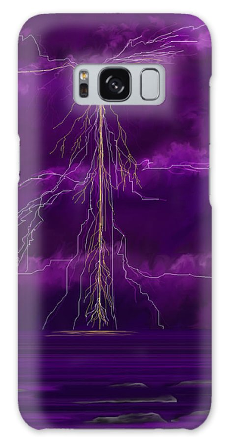 Lightning Storm Galaxy Case featuring the painting Tesla by Anne Norskog