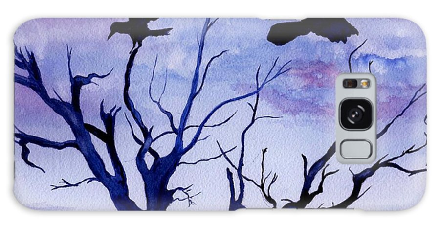 Watercolor Landscape Birds Raven Crow Flight Tree Sunset Sky Blue Clouds Scenic Galaxy S8 Case featuring the painting Twilight Flight by Brenda Owen