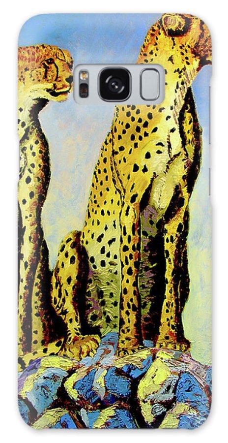 Cheetahs Galaxy S8 Case featuring the painting Two Cheetahs by Stan Hamilton