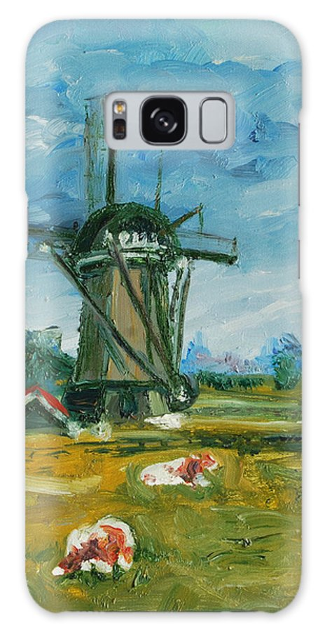 Farm Galaxy S8 Case featuring the painting Two Cows by Rick Nederlof