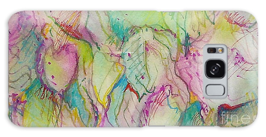 Abstract Galaxy Case featuring the painting Two Lips by Jan Bennicoff