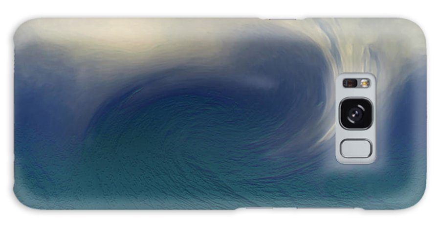 Abstract Wave Blue White Galaxy S8 Case featuring the digital art Water And Clouds by Linda Sannuti