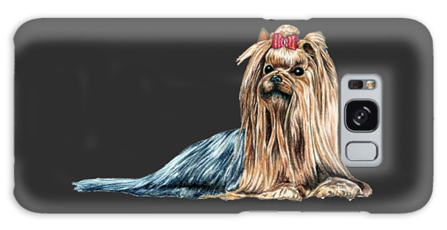 Yorkie Galaxy Case featuring the drawing Yorkshire Terrier by Kathleen Sepulveda