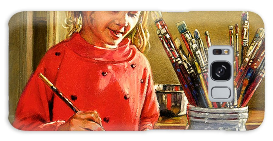 Young Girl Painting Galaxy S8 Case featuring the painting Young Artist by John Lautermilch