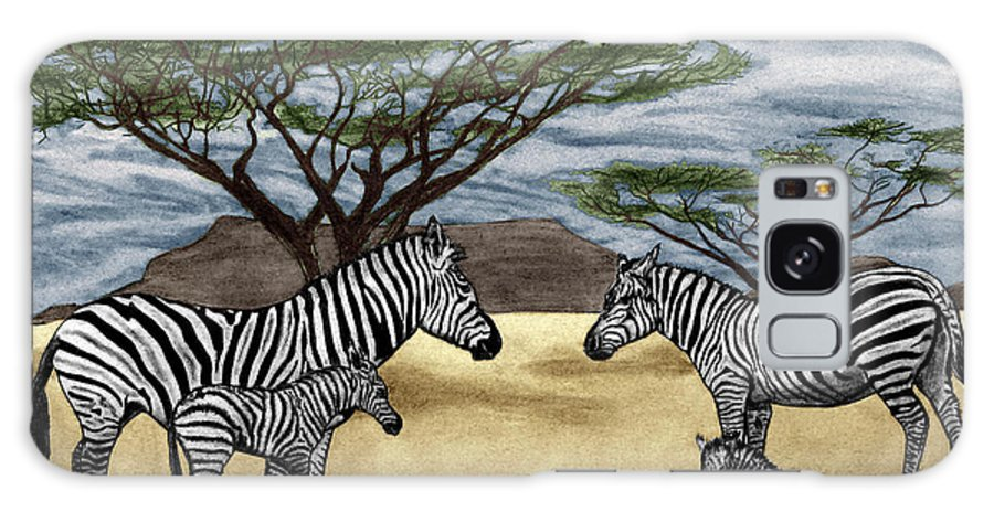Zebra African Outback Galaxy S8 Case featuring the drawing Zebra African Outback by Peter Piatt