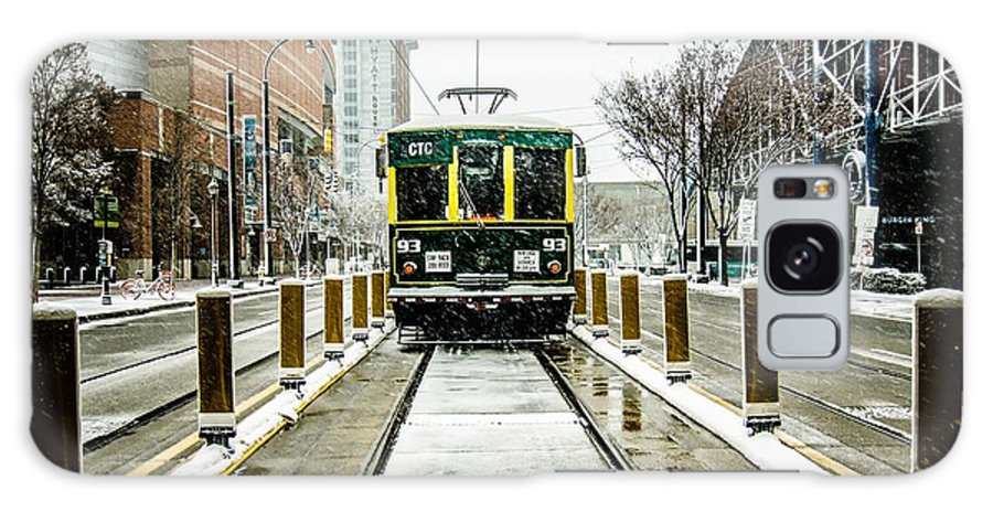 Streetcar Galaxy S8 Case featuring the photograph Streetcar Waiting For Passengers In Snowstrom In Uptown Charlott by Alex Grichenko