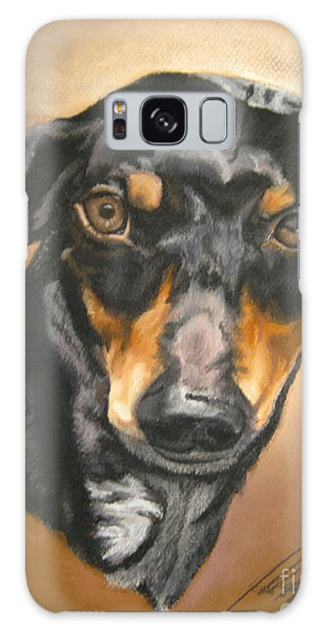 Dachsund Galaxy S8 Case featuring the pastel Untitled by John Huntsman