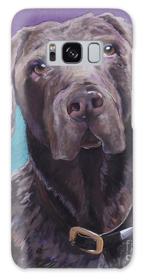Pet Portrait Commissions Galaxy S8 Case featuring the pastel 100 Lbs. Of Chocolate Love by Pat Saunders-White