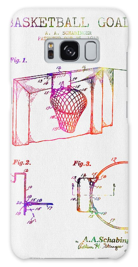 Basketball Galaxy S8 Case featuring the digital art 1938 Basketball Goal Patent - Color 1938 by Aged Pixel