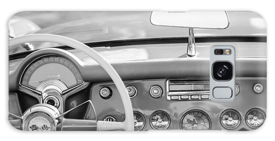 1954 Chevrolet Corvette Dashboard Galaxy S8 Case featuring the photograph 1954 Chevrolet Corvette Steering Wheel -368bw by Jill Reger